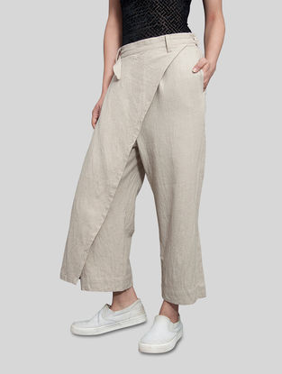 Beige Elasticated Waist Khadi Pants