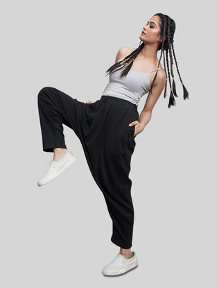 Black Elasticated Waist Jersey Pants