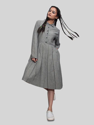 Grey Pleated Cotton Dress with Pocket