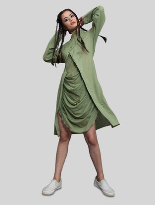 Green Mulmul Dress with Pocket