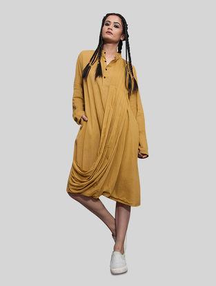 Mustard Mulmul Dress with Pocket