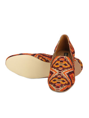 Orange Handcrafted Ikat Printed Cotton Loafer