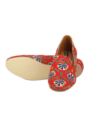 Red Handwoven Cotton Loafer
