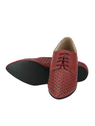 Cherry Lazer Cut Brogues