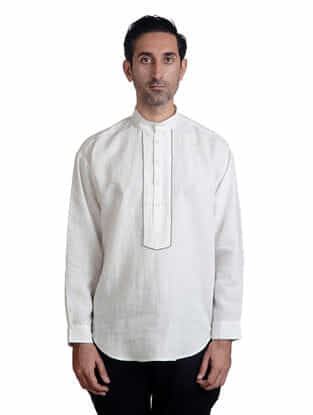 White Mandarin Collar Full Sleeve Linen Kurti