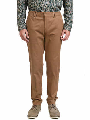 Brown Cotton Tapered Trousers