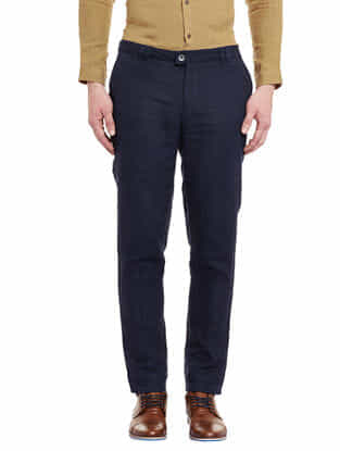 Navy Blue Linen Tapered Trousers