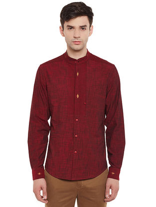 Maroon Full Sleeve Mangalgiri Cotton Shirt with Safe Pocket