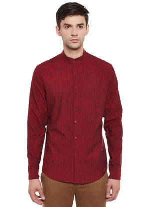 Maroon Full Sleeve Mangalagiri Cotton Slim Fit Shirt with Mandarin Collar