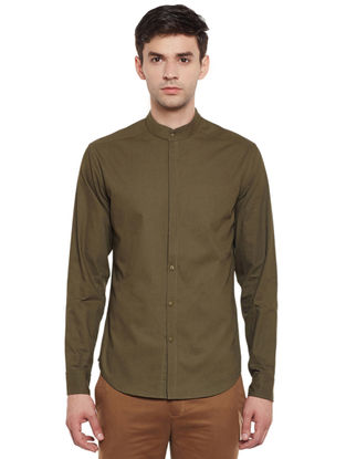 Olive Full Sleeve Cotton Slim Fit Shirt with Mandarin Collar