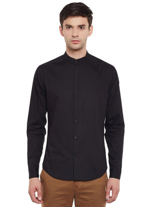 Black Full Sleeve Cotton Slim Fit Shirt with Mandarin Collar
