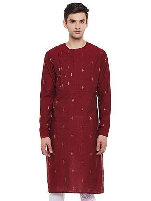 Maroon Full Sleeve Cotton Kurta with Zari Work