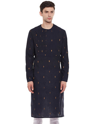 Navy Full Sleeve Cotton Kurta with Zari Work
