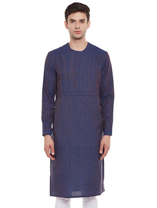 Blue Full Sleeve Kantha Stripes Cotton Kurta