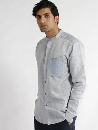Blue Hand Woven Mangalgiri Cotton Slub Band Collar Slim Fit Shirt