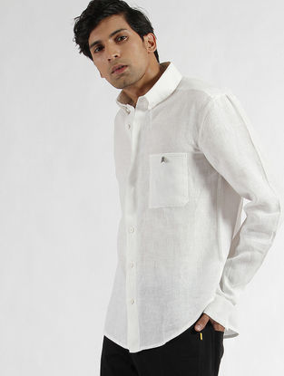 White Linen Button-down Collar Shirt