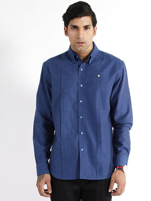 Indigo Handwoven Chevron Cotton Dress Shirt