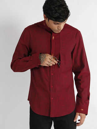 Maroon Hand Woven Mangalgiri Cotton Slub Dress Shirt