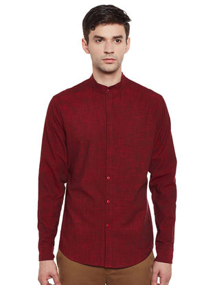 Maroon Hand Woven Cotton Slub Fitted Shirt