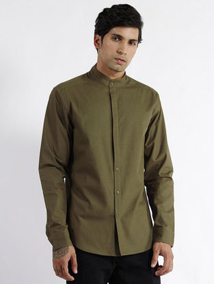 Olive Mangalgiri Cotton Fitted Shirt