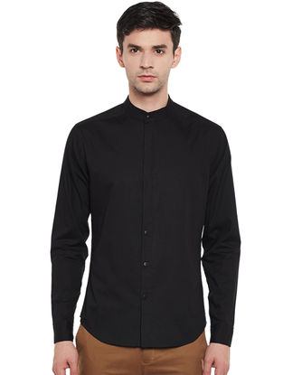 Black Cotton Fitted Shirt