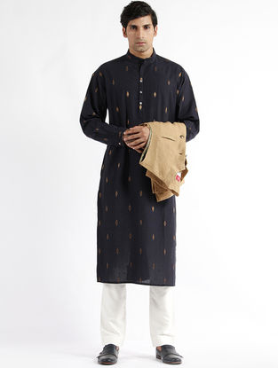 Navy Hand Woven Cotton Drop Shoulder Kurta