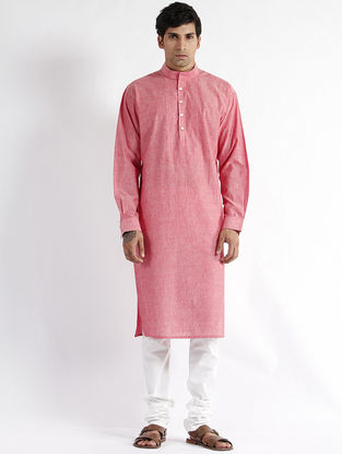 Pink Hand Woven Mangalgiri Cotton Drop Shoulder Kurta