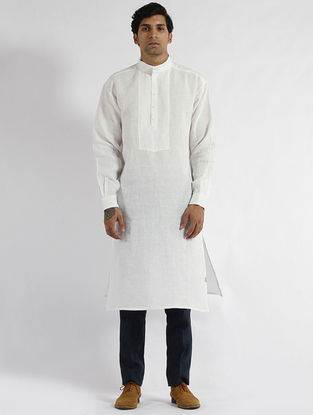 White Linen Drop Shoulder Kurta