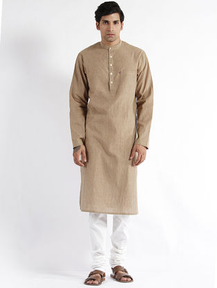 Beige Mangalgiri Cotton Long Kurta