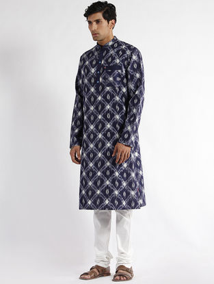 Blue Hand Woven Double Ikat Cotton Long Kurta