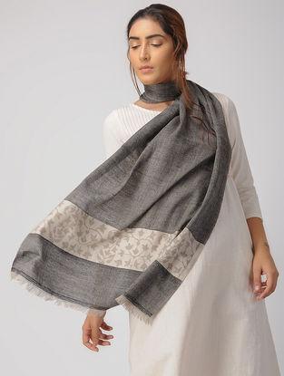Charcoal-Ivory Kani Pashmina Stole