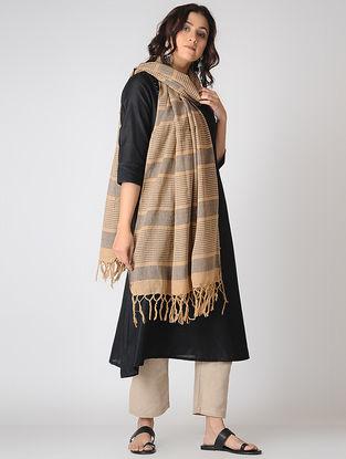 Beige-Grey Striped Cotton Dupatta