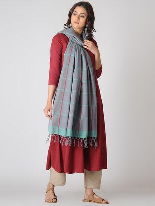Grey-Turquoise Checkered Cotton Dupatta