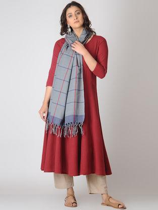 Grey-Pink Checkered Cotton Dupatta