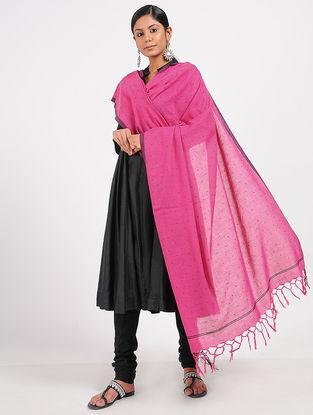 Pink Hand-embroidered Cotton Dupatta