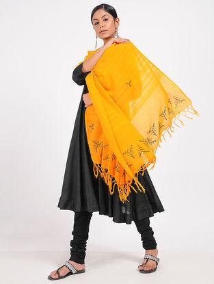 Yellow Hand-embroidered Cotton Dupatta