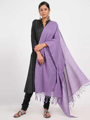 Purple Hand-embroidered Cotton Dupatta