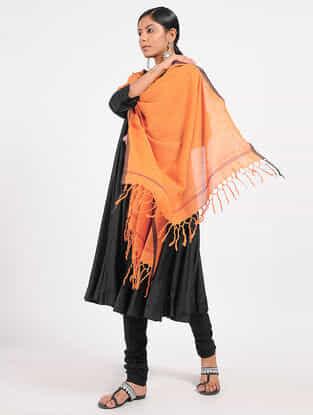 Orange Hand-embroidered Cotton Dupatta