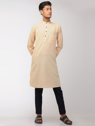 Beige Cotton Full Sleeve Long Kurta with Mandarin Collar