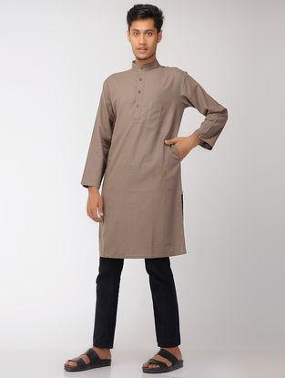 Brown Cotton Full Sleeve Long Kurta with Mandarin Collar