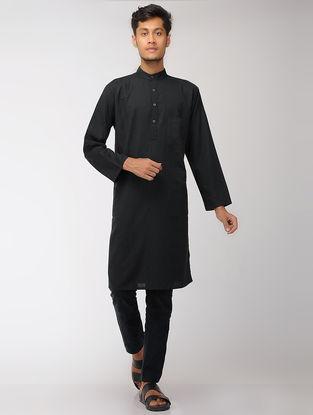 Black Cotton Full Sleeve Long Kurta with Mandarin Collar