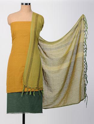 Mustard-Green Cotton Suit Set (set of 3)