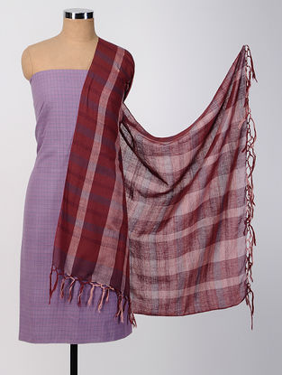 Purple-Red Cotton Suit Set (set of 2)