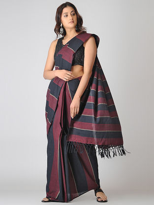 Maroon-Black Striped Cotton Saree
