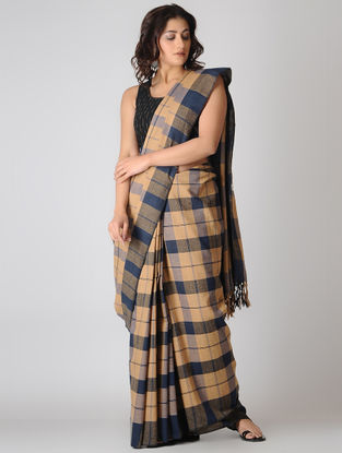 Beige-Blue Checkered Cotton Saree
