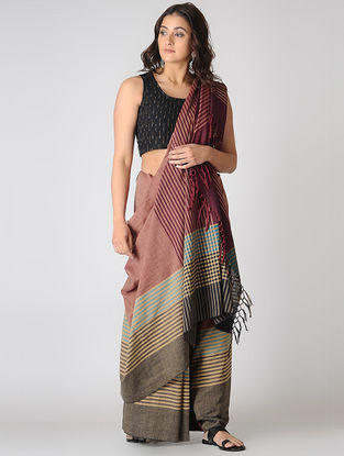 Peach-Purple Cotton Saree