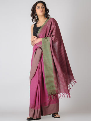 Pink-Green Cotton Saree
