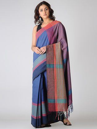 Blue-Purple Cotton Saree