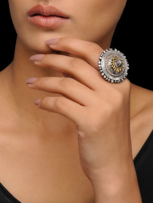 Dual Tone Adjustable Tribal Silver Ring