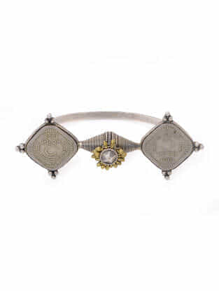 Dual Tone Tribal Silver Bangle (Bangle Size- 2/6)